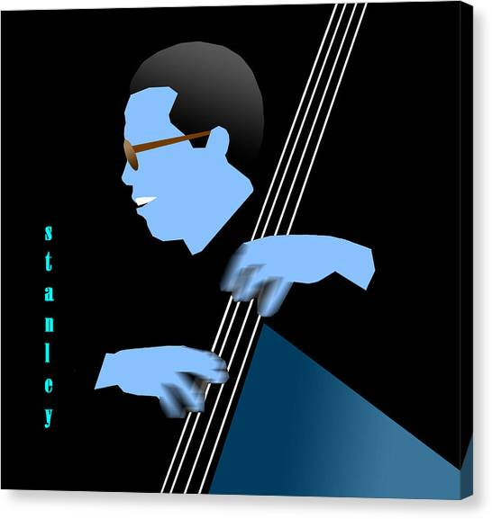 Stanley Clarke Blue Canvas Print by Victor Bailey