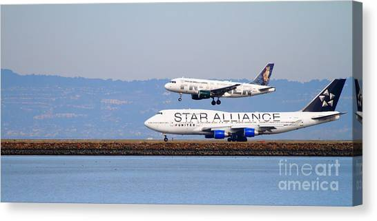 Star Alliance Canvas Print - Star Alliance Airlines And Frontier Airlines Jet Airplanes At San Francisco Airport . Long Cut by Wingsdomain Art and Photography