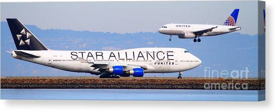 Star Alliance Canvas Print - Star Alliance Airlines And United Airlines Jet Airplanes At San Francisco Airport Sfo . Long Cut by Wingsdomain Art and Photography