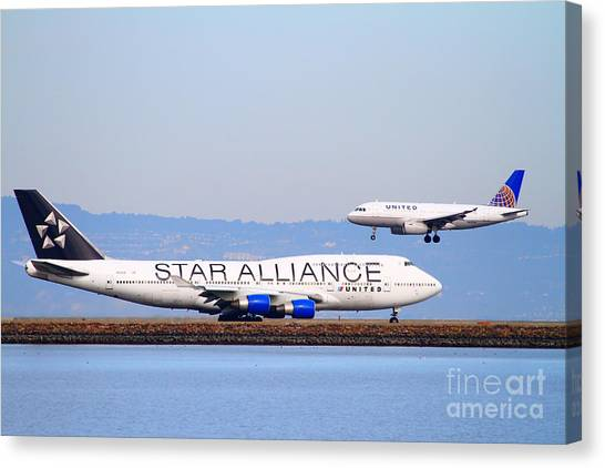 Star Alliance Canvas Print - Star Alliance Airlines And United Airlines Jet Airplanes At San Francisco International Airport Sfo  by Wingsdomain Art and Photography