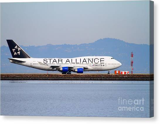 Star Alliance Canvas Print - Star Alliance Airlines Jet Airplane At San Francisco International Airport Sfo . 7d12199 by Wingsdomain Art and Photography