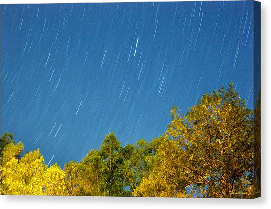 Star Trails On A Blue Sky Canvas Print