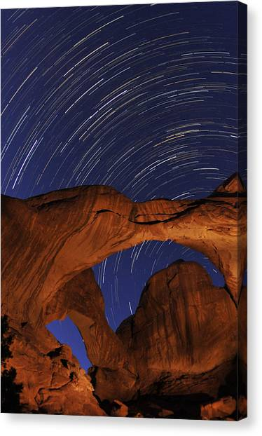 Star Trails Over Double Arch Canvas Print
