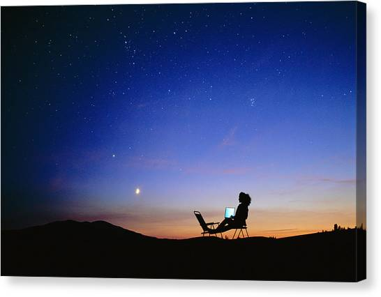 Starry Sky And Stargazer Canvas Print by David Nunuk