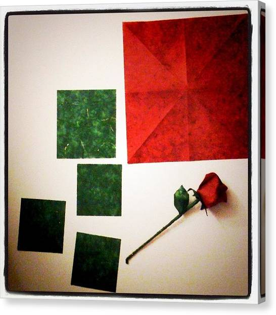 Red Roses Canvas Print - Starting A Long Stem #origami #red #rose by Cindy Ho