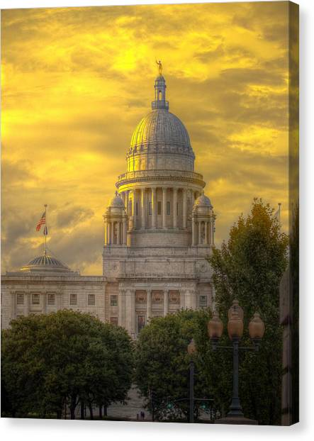 Statehouse At Sunset Canvas Print by Jerri Moon Cantone