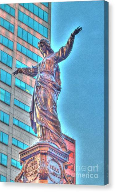 Statue At Fountain Square Canvas Print