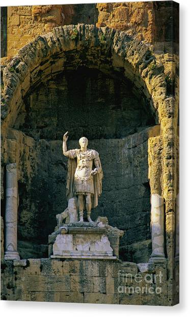 Romanesque Art Canvas Print - Statue De L'empereur Auguste Dans Le Theatre D'orange. by Bernard Jaubert