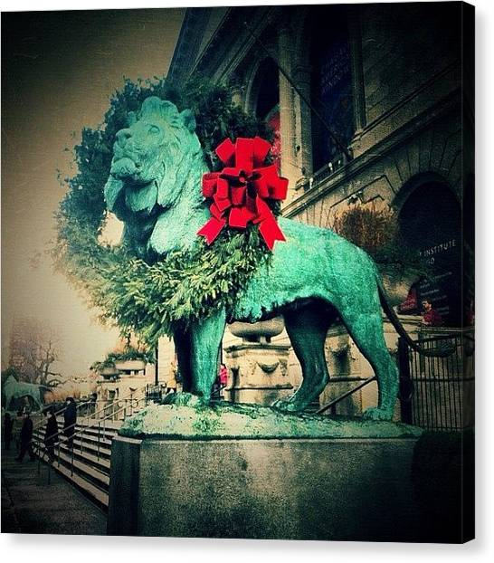 Wreath Canvas Print - #statue #lion #outside #art #institute by Stacy Stylianou