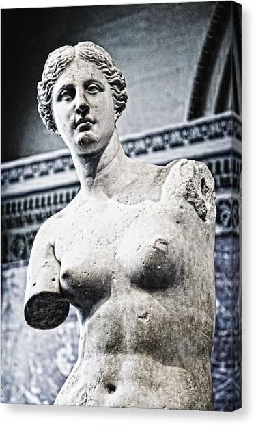 Le Louvre Canvas Print - Statue Or Venus by Carson Ganci
