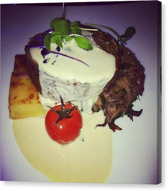 Steak Canvas Print - #steak #cherrytomato #beef #angus by Moon Man