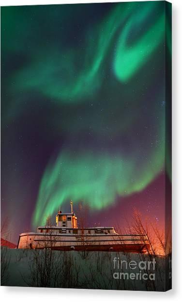 Yukon Canvas Print - Steamboat Under Northern Lights by Priska Wettstein
