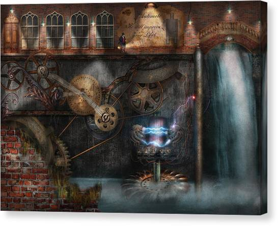 Steampunk - Industrial Society Canvas Print by Mike Savad