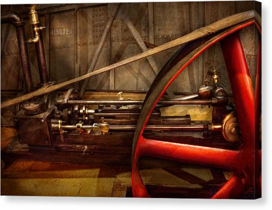 Steampunk - Machine - The Wheel Works Canvas Print by Mike Savad