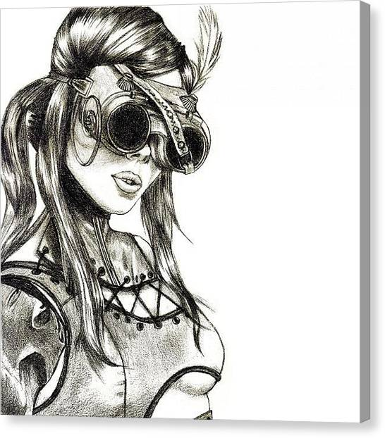 Sketch Canvas Print - Steampunk Girl 1 by Andres R