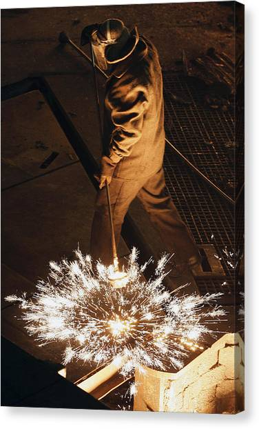 Protective Clothing Canvas Print - Steel Foundry Worker by Ria Novosti
