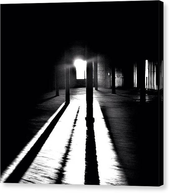 Warehouses Canvas Print - Step Into The Light #bw #blackandwhite by David Sabat