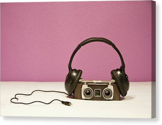 Headphones Canvas Print - Stereophonic Camera by Pedro Díaz Molins