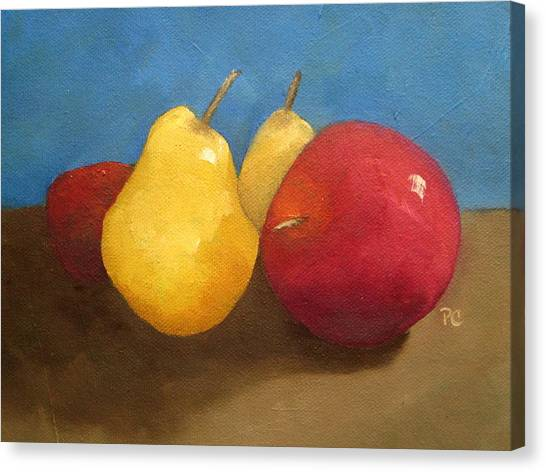 Still Life Apples And Pears Canvas Print