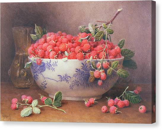 Raspberries Canvas Print - Still Life Of Raspberries In A Blue And White Bowl by William B Hough