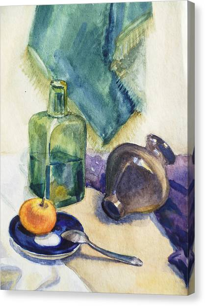 Academic Art Canvas Print - Still Life With Green Bottle by Irina Sztukowski
