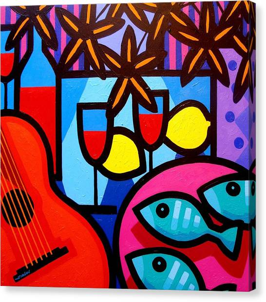 Egyptian Art Canvas Print - Still Life With Guitar And Fish by John  Nolan