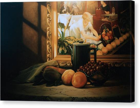 Grapefruits Canvas Print - Still Life With Hopper by Patrick Anthony Pierson