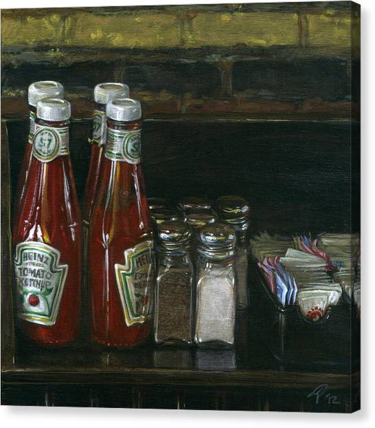 Still Life With Ketchup Canvas Print by Ted Papoulas