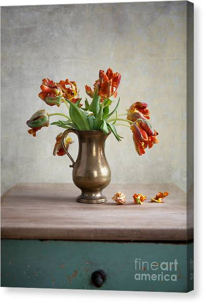 Cut Flowers Canvas Print - Still Life With Tulips by Nailia Schwarz