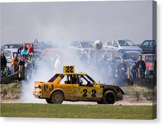 Stock Cars Canvas Print - Stock Car Racing Near Appleby, Cumbria Uk by Mark Williamson