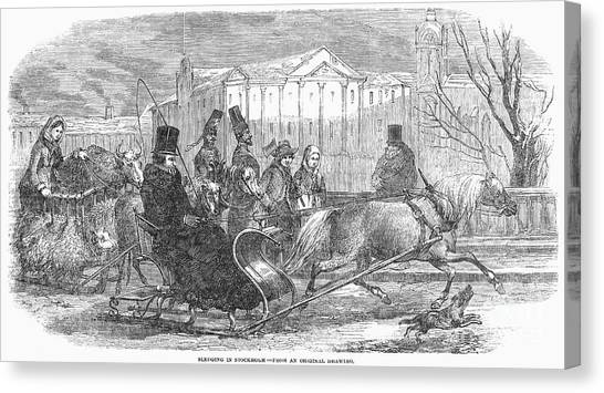 Sleds Canvas Print - Stockholm: Sleighing, 1850 by Granger