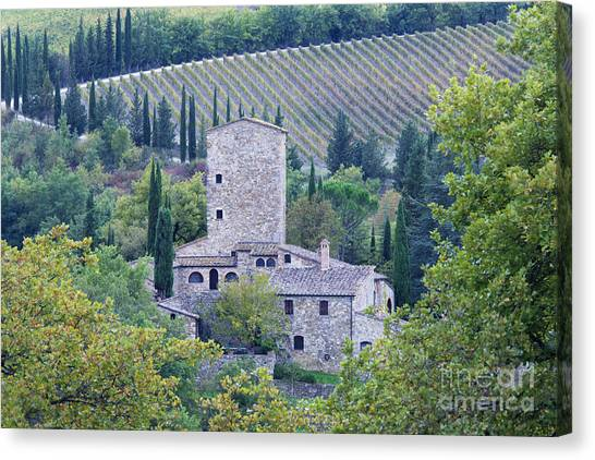 Stone Farmhouse Near Montefioralle Canvas Print by Jeremy Woodhouse