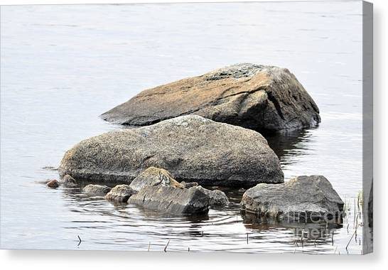Stone In Calm Water Canvas Print by Conny Sjostrom