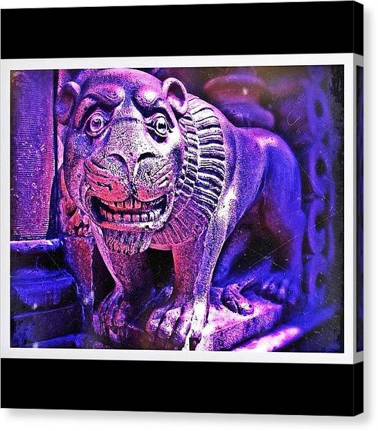 Teeth Canvas Print - Stone Lion by Leonard Lee