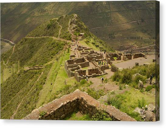 Stone Ruins At Pisac National Park,sacred Valley Of The Incas Canvas Print by Ralph Hopkins