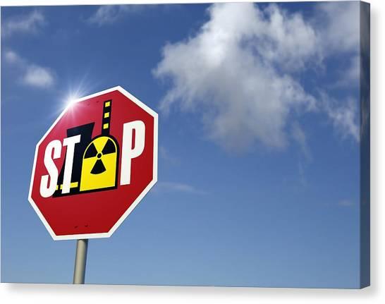 Stop Nuclear Power, Conceptual Artwork Canvas Print by Detlev Van Ravenswaay
