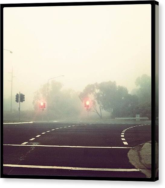 Stoplights Canvas Print - Stoplights In The Fog by Leanne Y