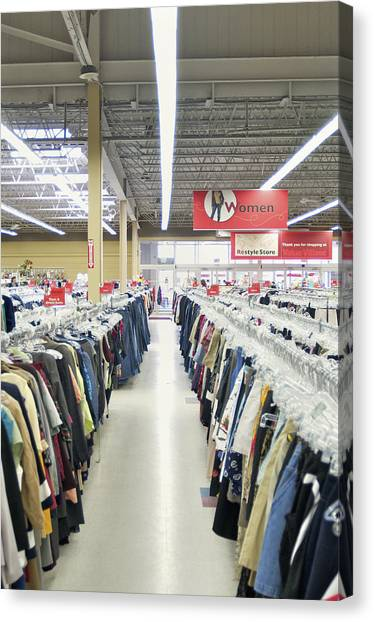 Clothes Store Canvas Print   Store Interior. Retail Store With Racks By  Will Burwell