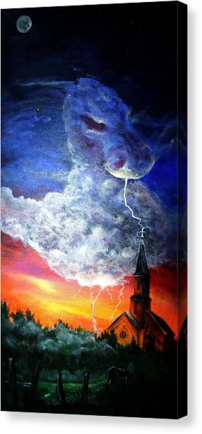 Storm Against Christianity Canvas Print by Leslie Hoops-Wallace