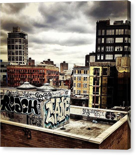 Graffiti Canvas Print - Storm Clouds And Graffiti Looking Out by Vivienne Gucwa