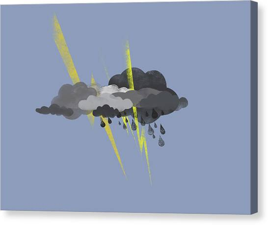 Raining Canvas Print - Storm Clouds, Lightning And Rain by Jutta Kuss