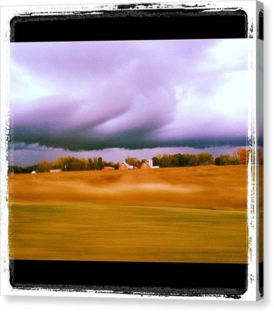 Jeep Canvas Print - #storm #country #barn #red #fields by Danielle Smith