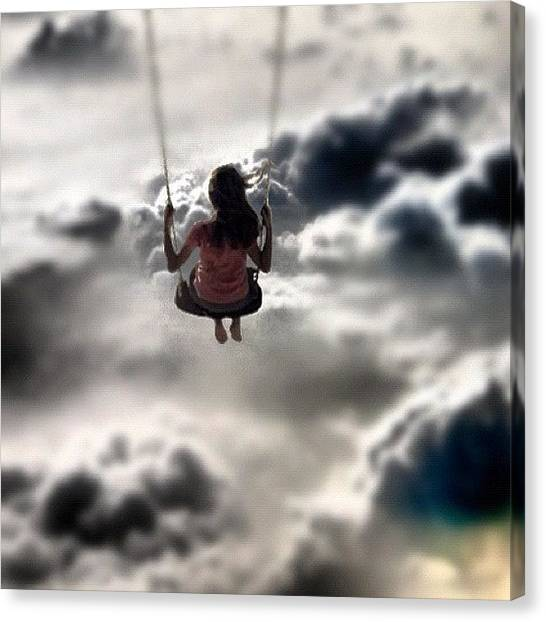 Swing Canvas Print - Storm☁⚡ #juxtaposer #girl #swing by Max Hanuschak