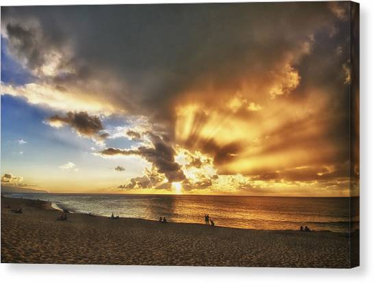 Storm Over Sunset Beach Hawaii Canvas Print by Verity Milligan