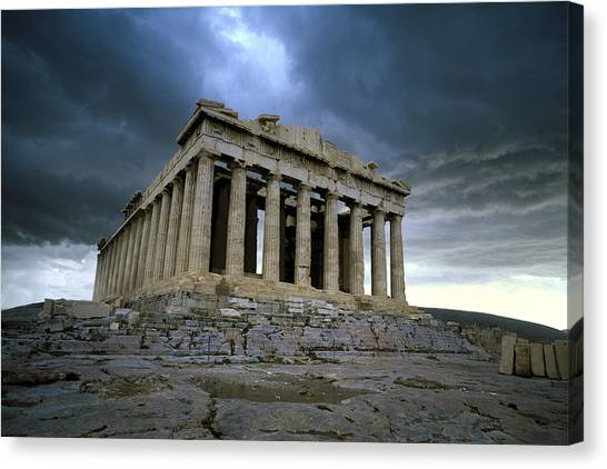 Storm Over The Parthenon Canvas Print