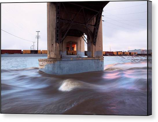 Storm Water Under The Sixth Street Bridge In La Canvas Print by Kevin  Break