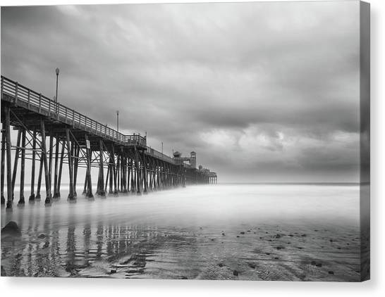 White Sand Canvas Print - Stormy Oceanside by Larry Marshall