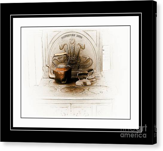 Pioneers Canvas Print - Stove Patent 1885 by Elaine Manley