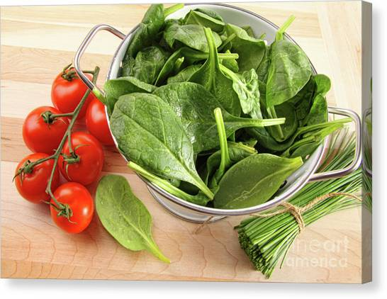 Spinach Canvas Print - Strainer With Spinach Leaves And Tomatoes by Sandra Cunningham