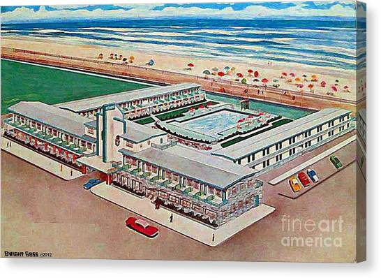 Strand Motel And Restaurant In Atlantic City N J 1950's Canvas Print by Dwight Goss